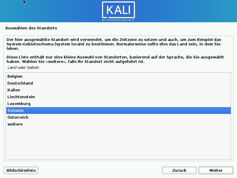 Kali Linux installieren - standort