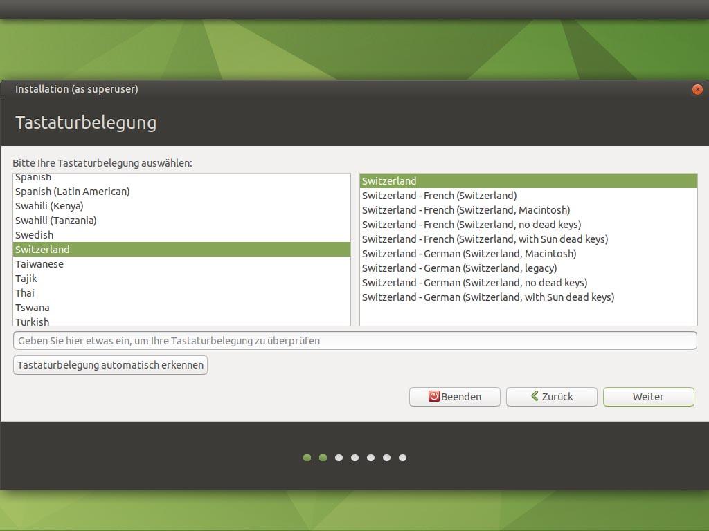 Ubuntu MATE 20.10 installieren - tastaturbelegung
