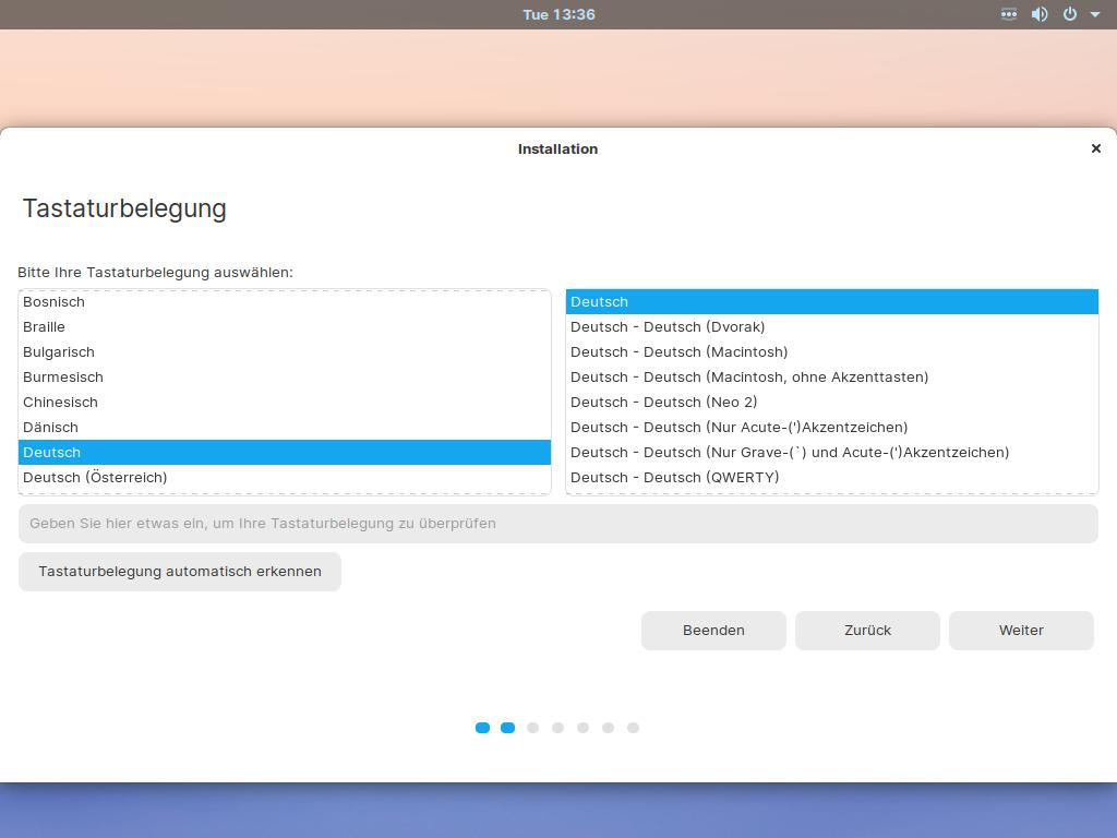 Zorin OS 15.3 installieren - tastatureinstellungen