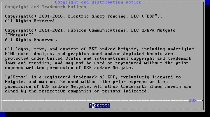 pfSense 2.5.0 installieren - accept