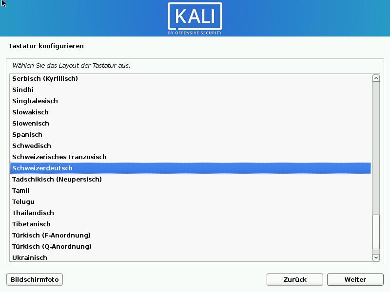 Kali Linux installieren - tastatur