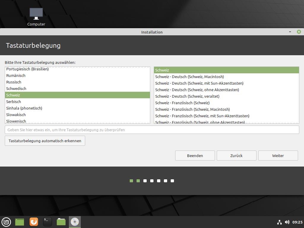 Linux Mint 20.1 installieren - tastaturbelegung