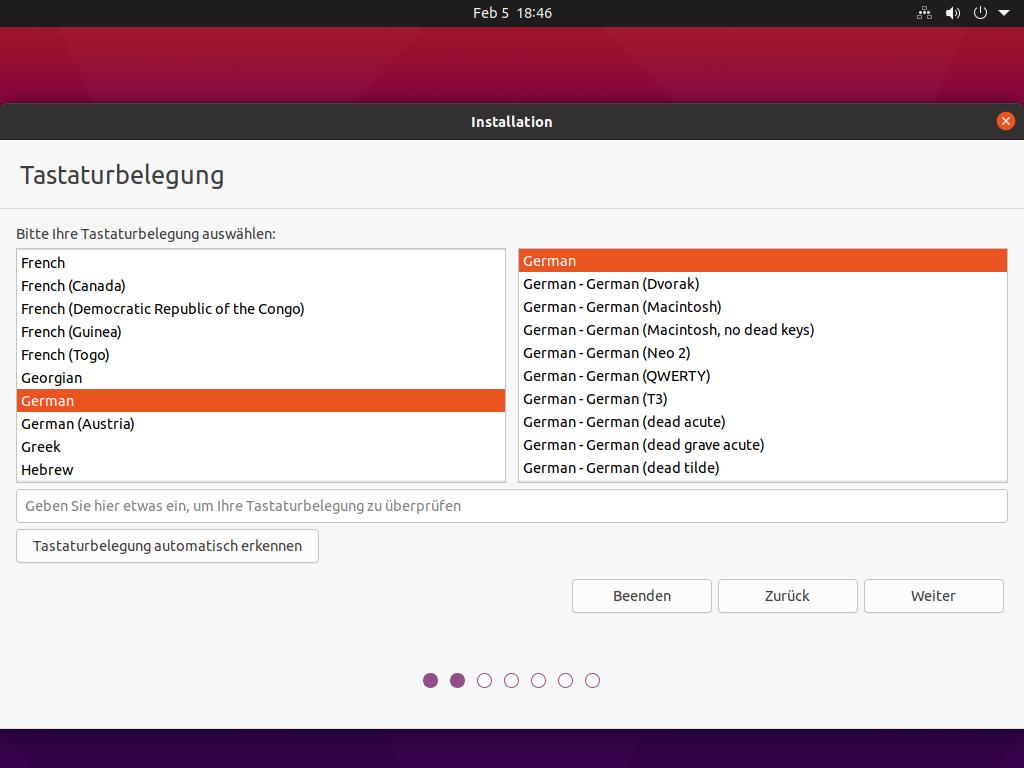 Ubuntu 21.04 installieren - Tastaturbelegung auswählen