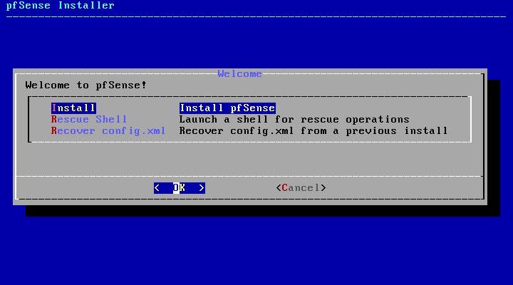 pfSense 2.5.0 installieren - install