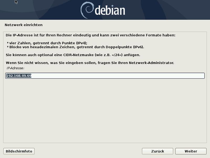 Debian 10.8.0 Server installieren - netzwerk - ip