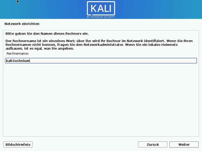 Kali Linux installieren - rechnername