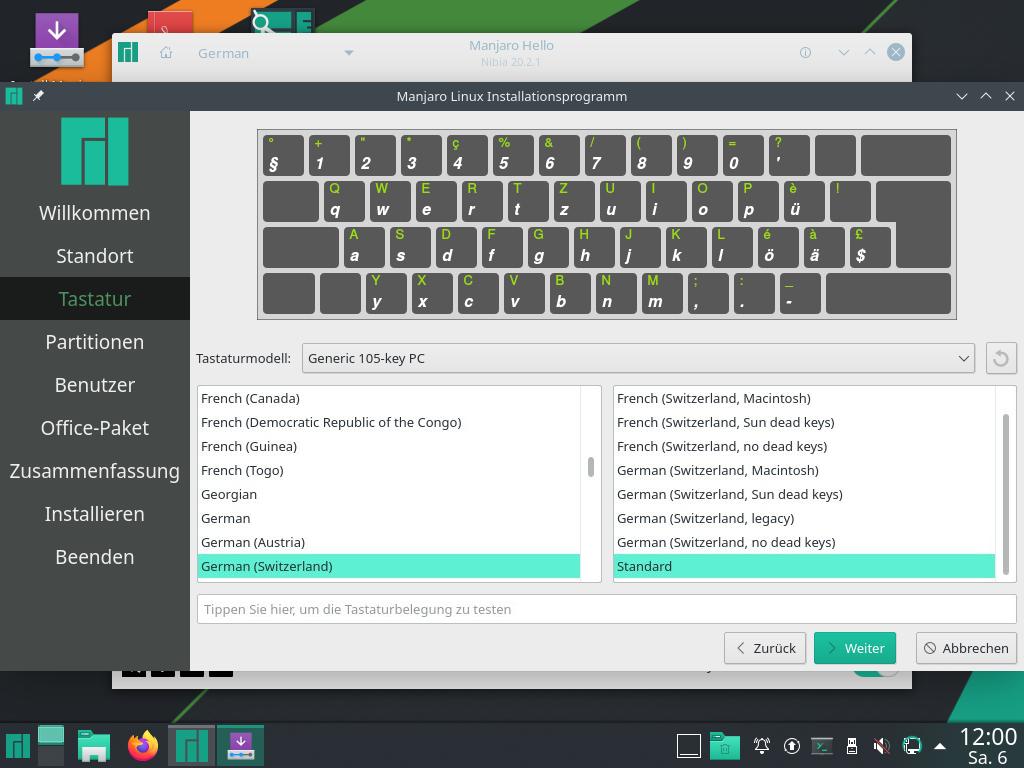 Manjaro 20.2.1 installieren - tastatur