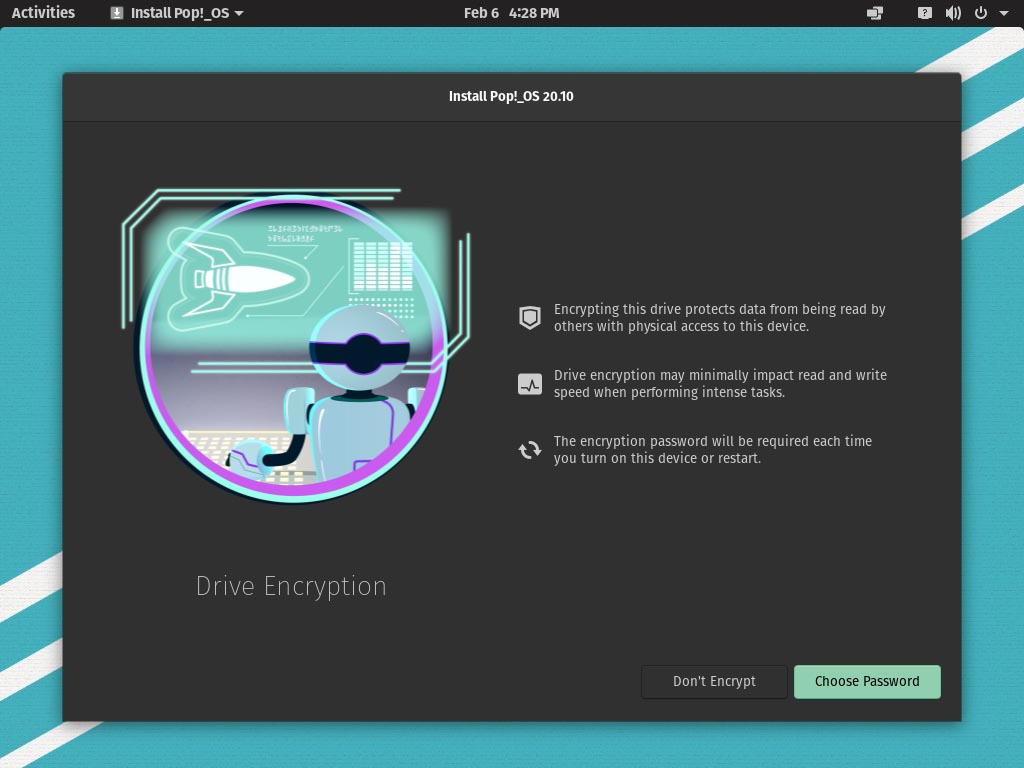 Pop!_OS 20.10 installieren - drive encryption