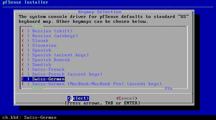 pfSense 2.5.0 installieren - tastaturlayout
