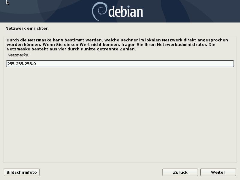 Debian 10.8.0 Server installieren - netzwerk - netmask