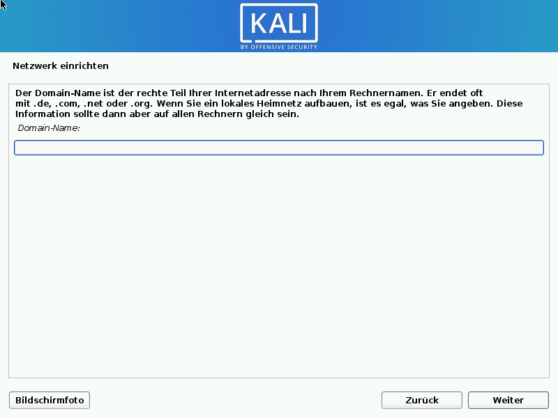 Kali Linux installieren - domain