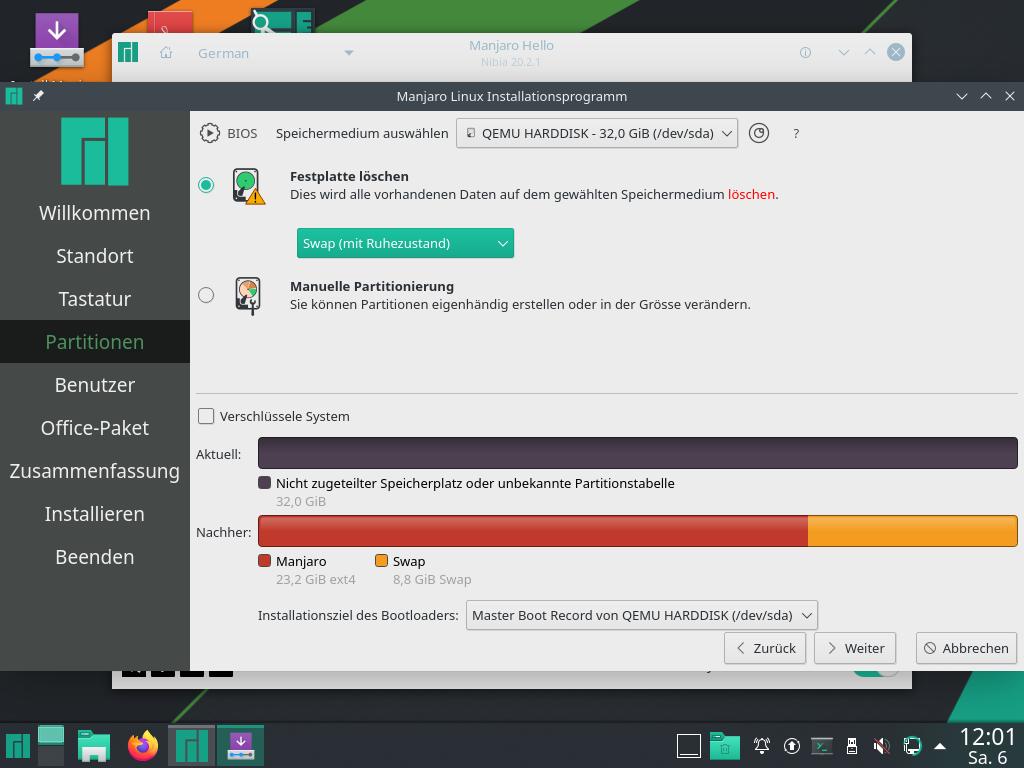 Manjaro 20.2.1 installieren - disk