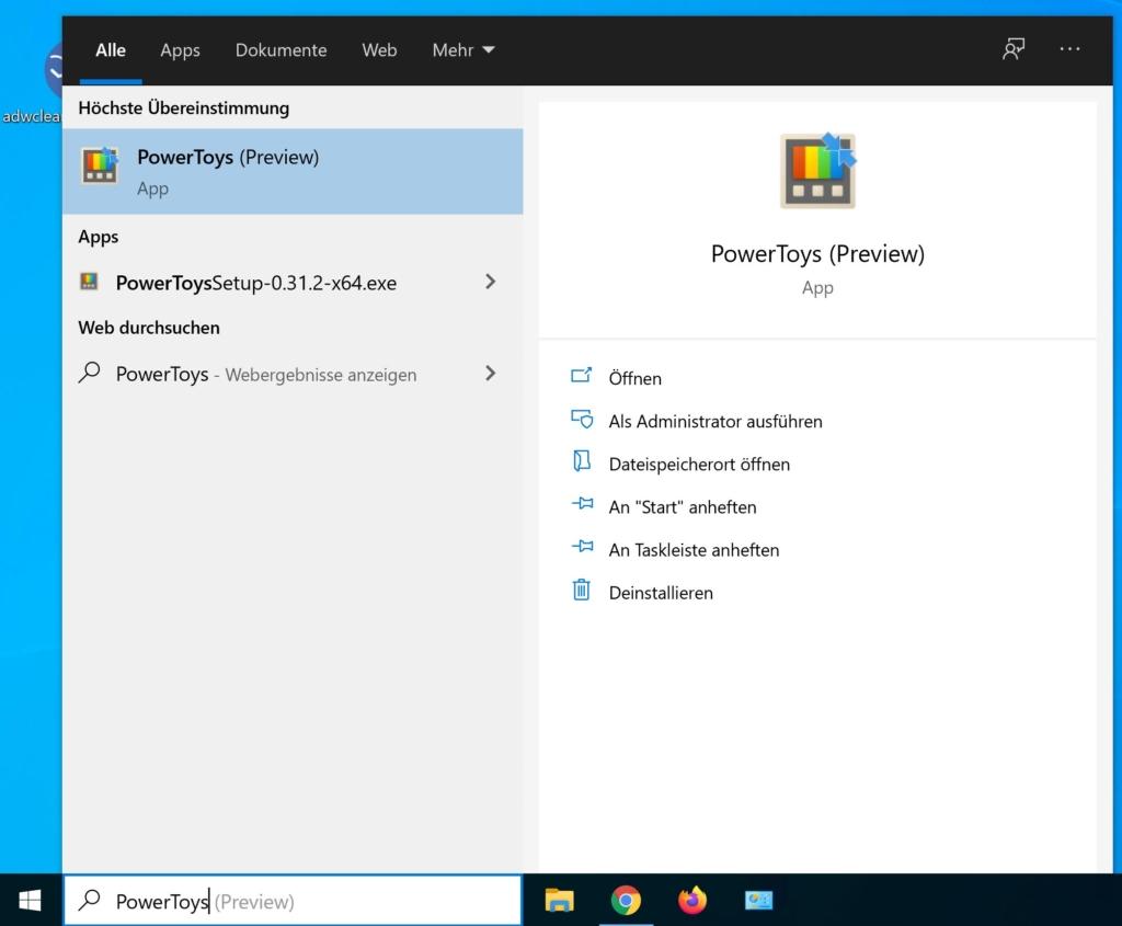 Microsoft PowerToys installieren - start