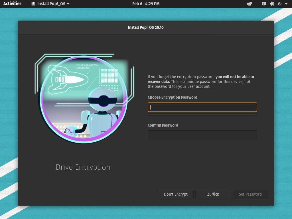 Pop!_OS 20.10 installieren - drive encryption password