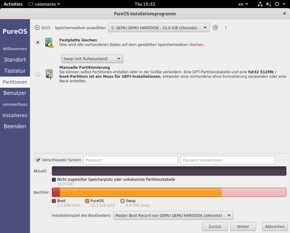 PureOS installieren - festplatte