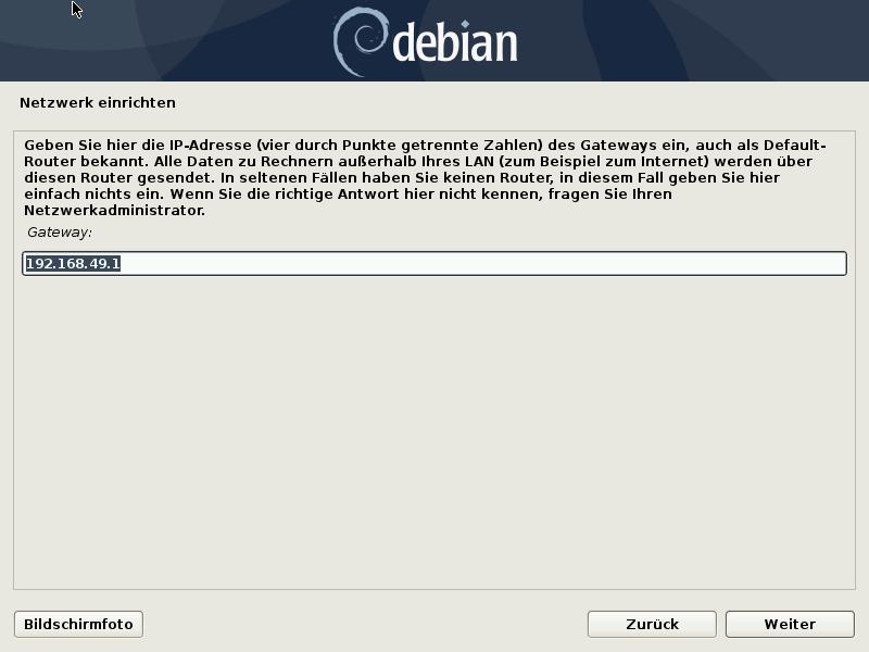 Debian 10.8.0 Server installieren - netzwerk -gateway