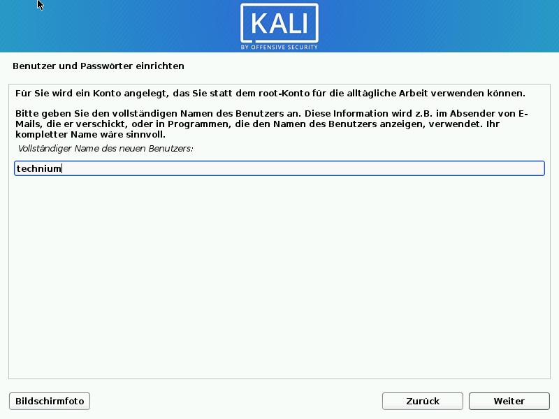 Kali Linux installieren - benutzer