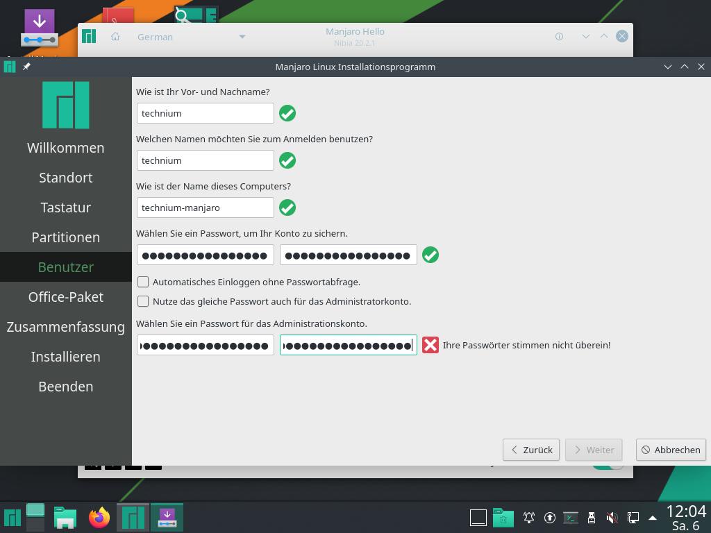 Manjaro 20.2.1 installieren - benutzer
