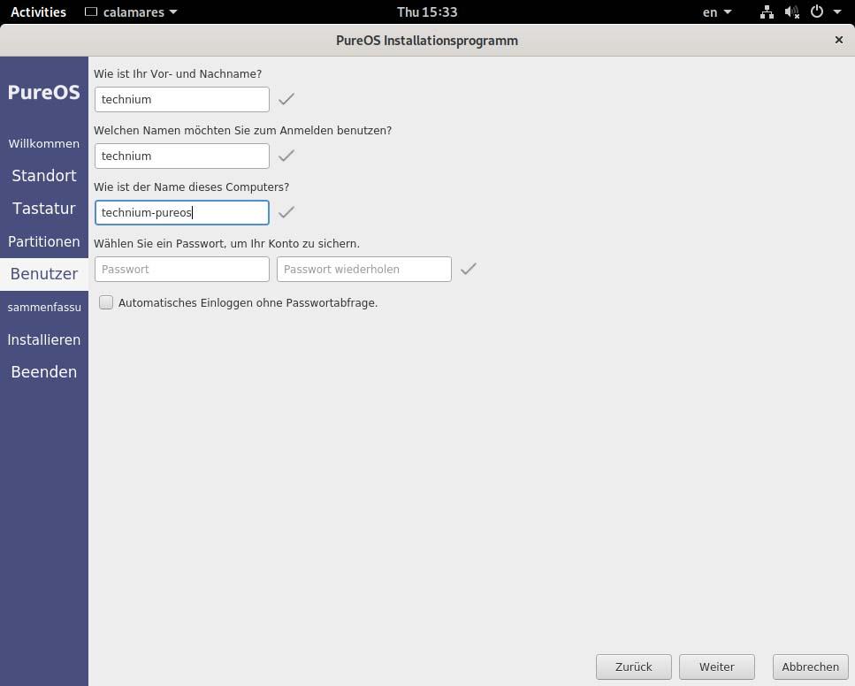 PureOS installieren - benutzer