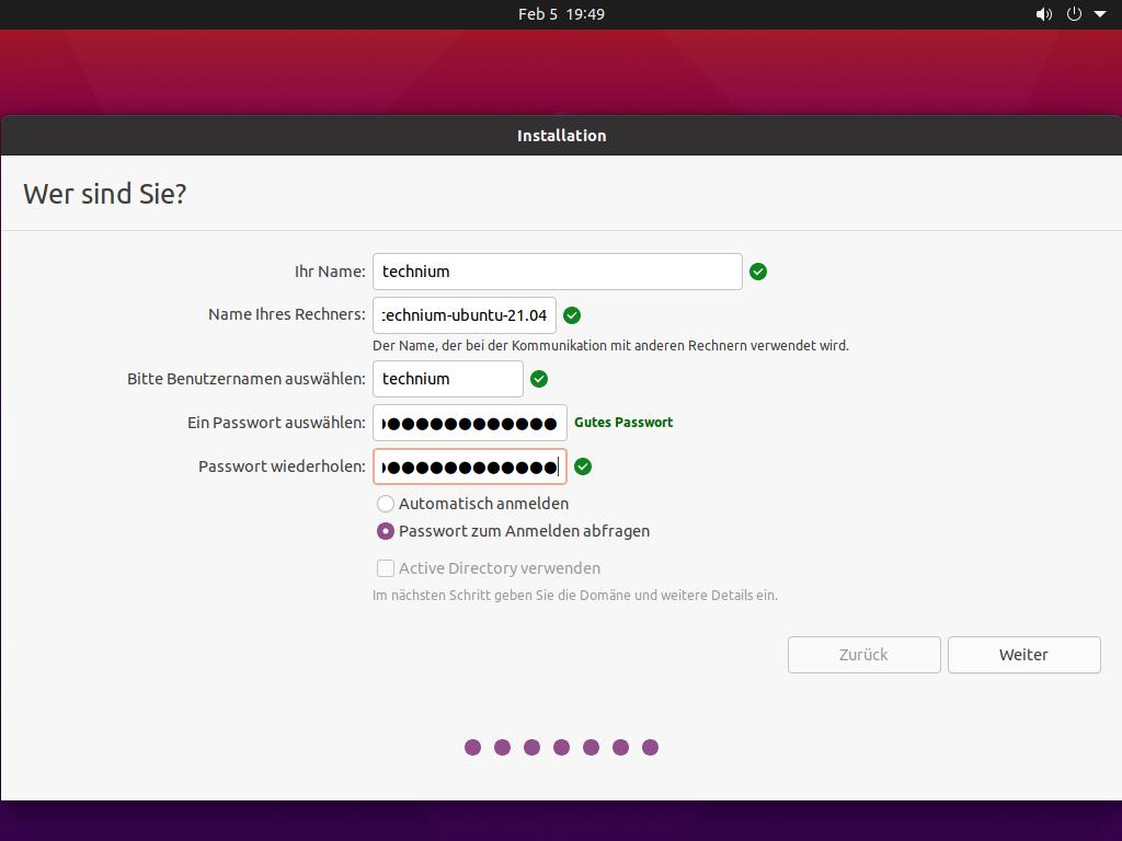 Ubuntu 21.04 installieren - wer sind sie