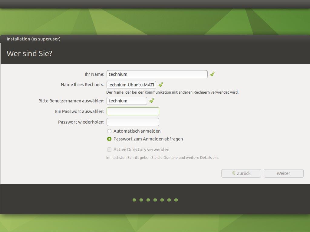 Ubuntu MATE 20.10 installieren - benutzer
