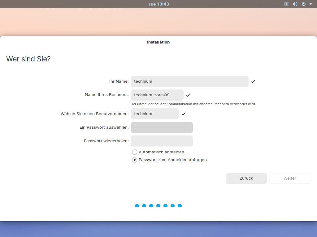 Zorin OS 15.3 installieren - user