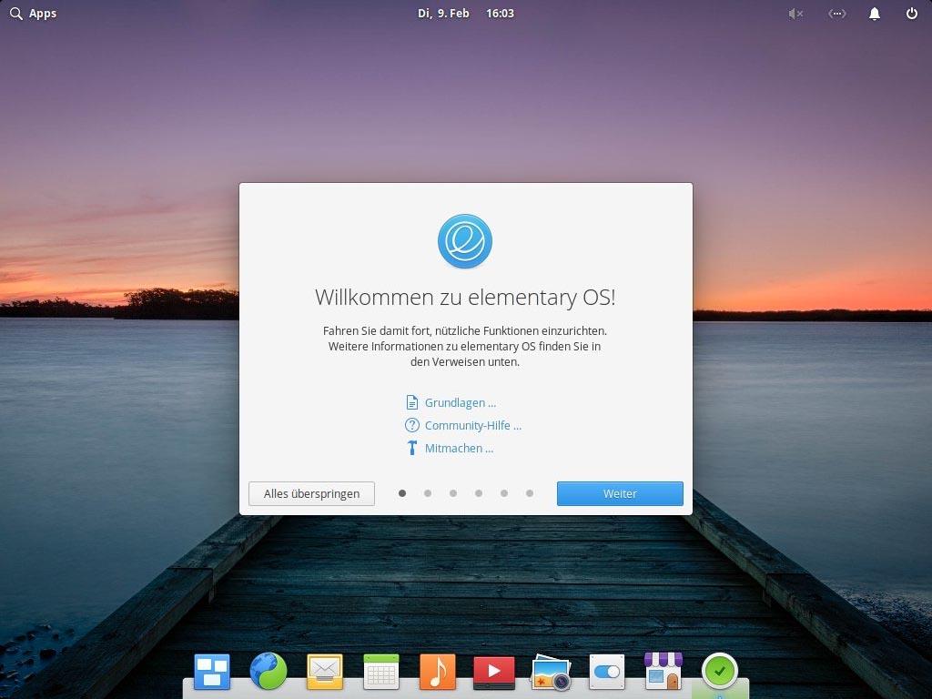 Elementary OS 5.1 installieren - welcome