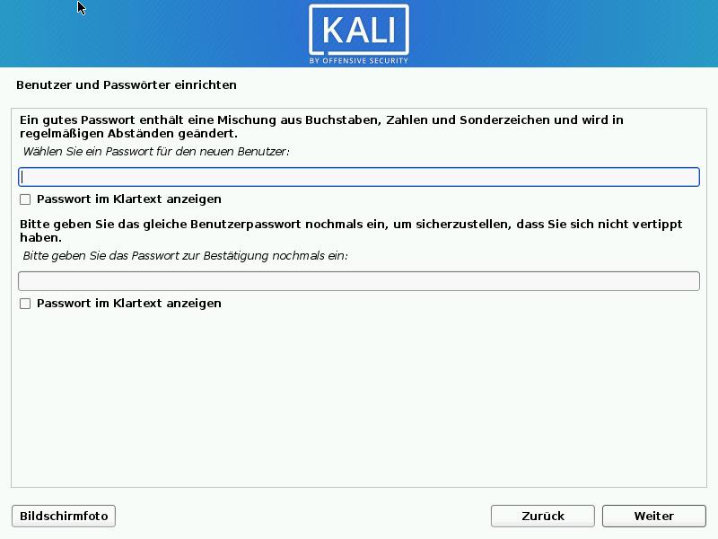 Kali Linux installieren - passwort
