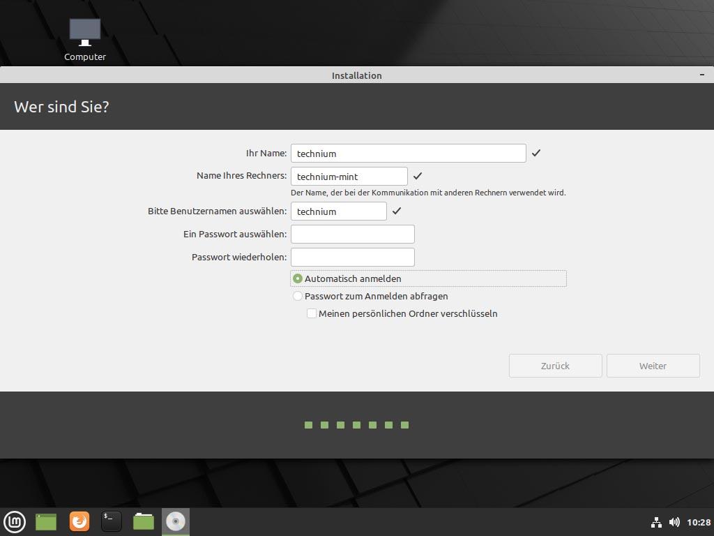Linux Mint 20.1 installieren - zeitzone