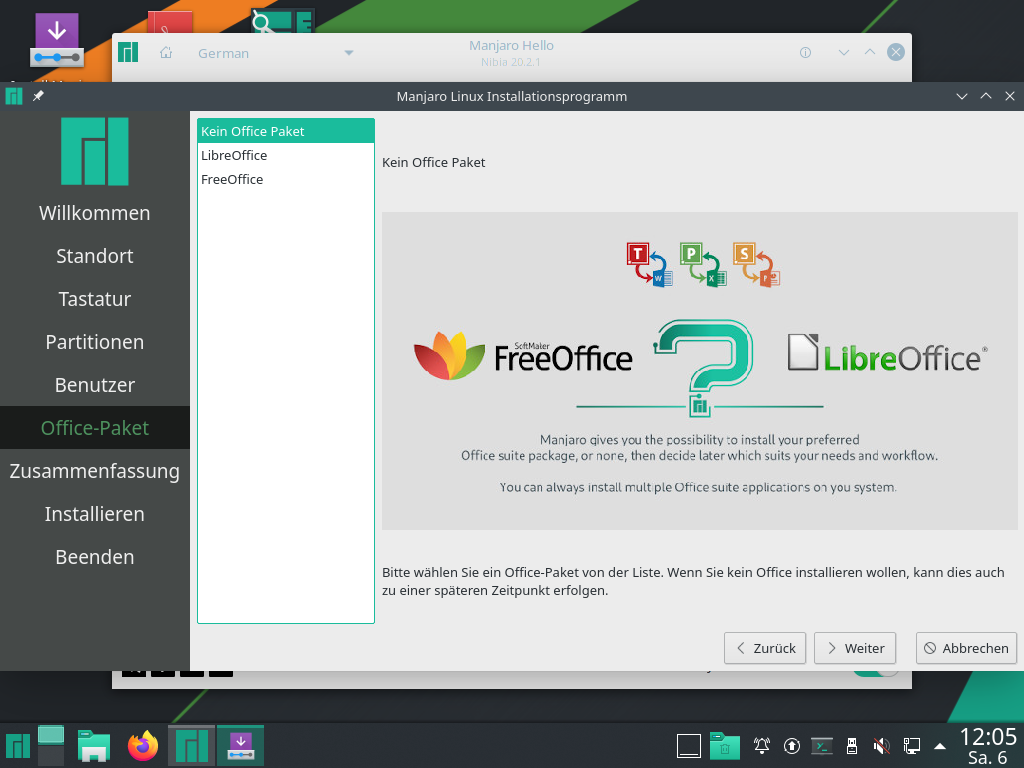 Manjaro 20.2.1 installieren - office paket wählen