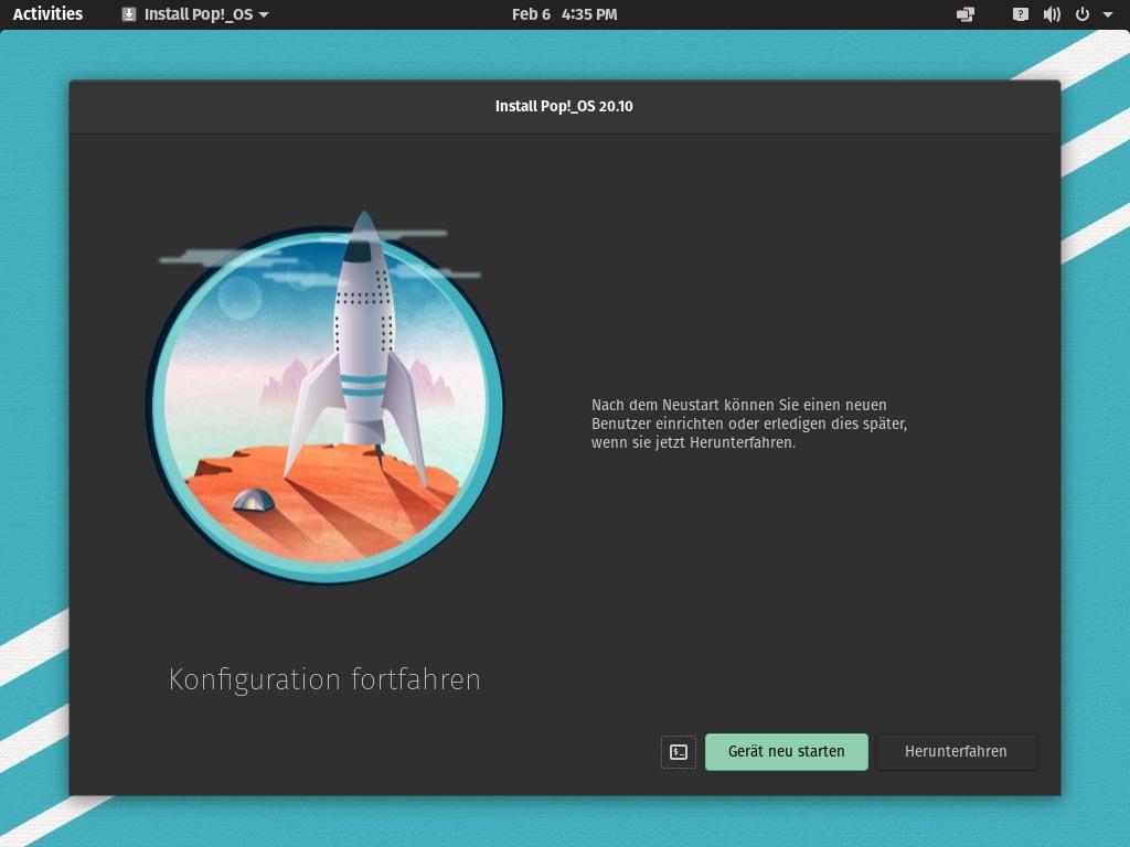 Pop!_OS 20.10 installieren - reboot