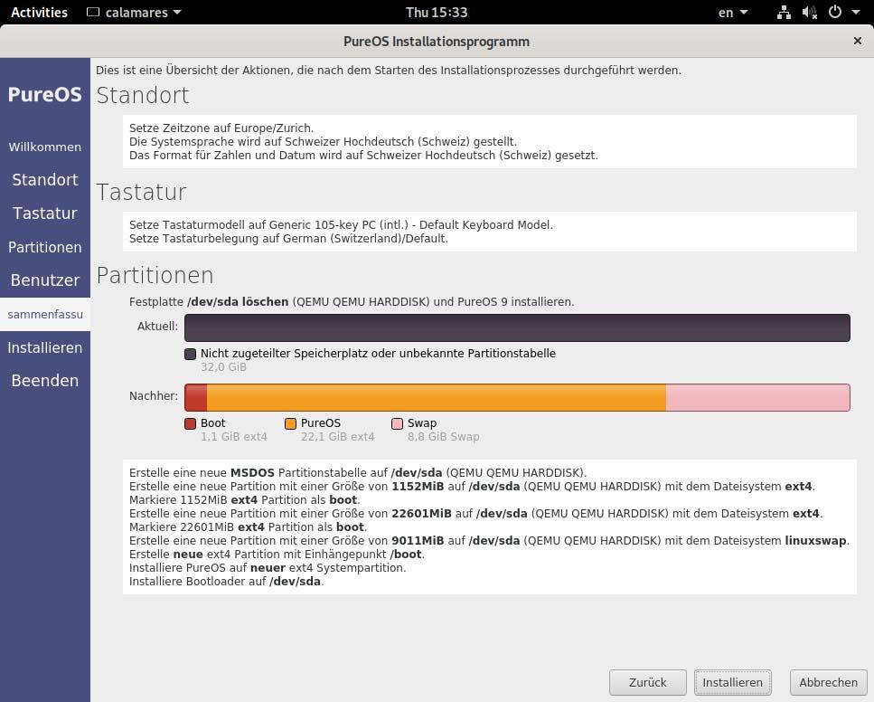 PureOS installieren - zusammenfassung
