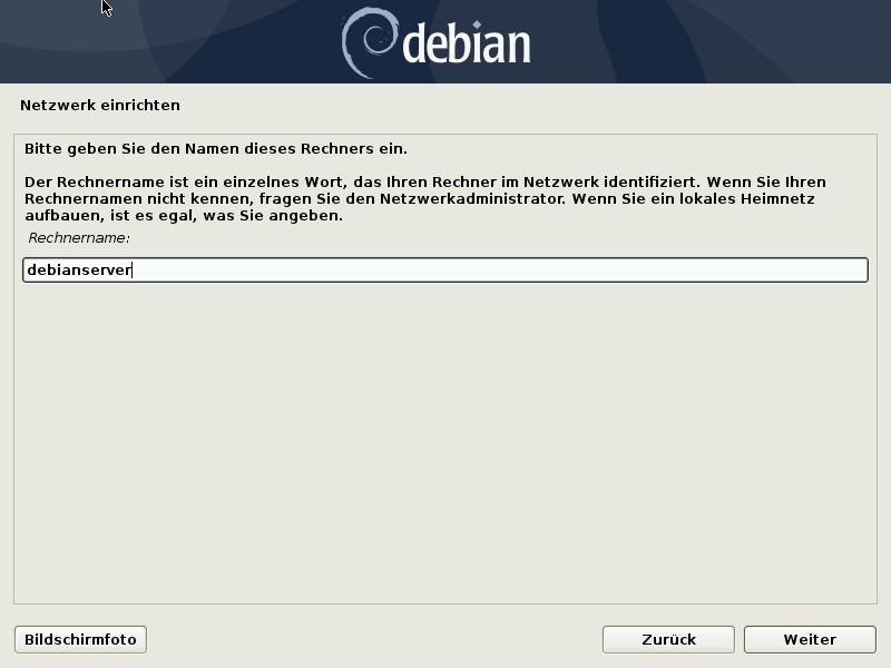 Debian 10.8.0 Server installieren - rechnername
