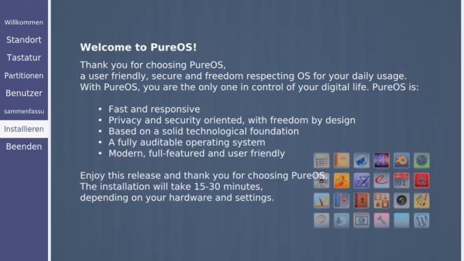 PureOS installieren - installing