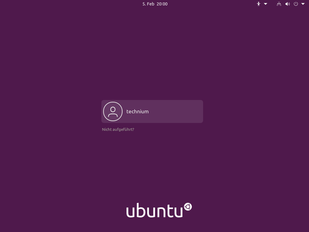 Ubuntu 21.04 installieren - login