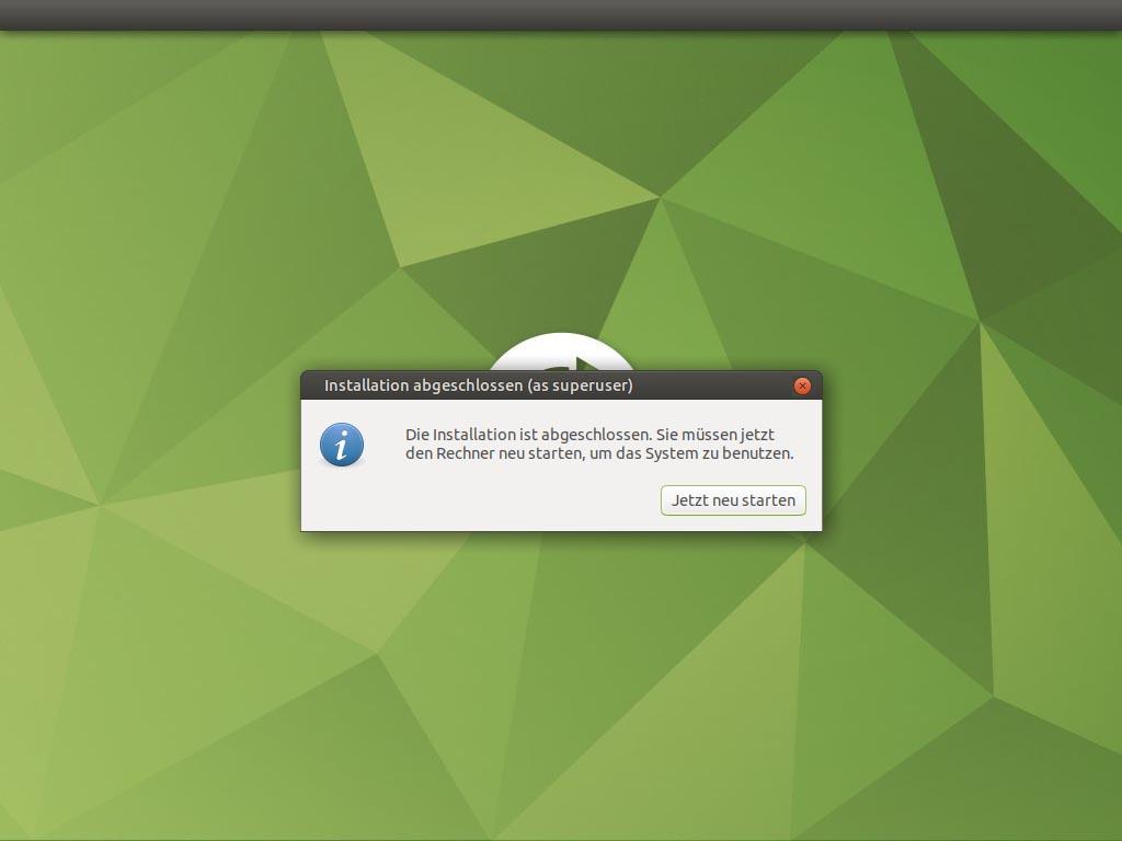 Ubuntu MATE 20.10 installieren - reboot