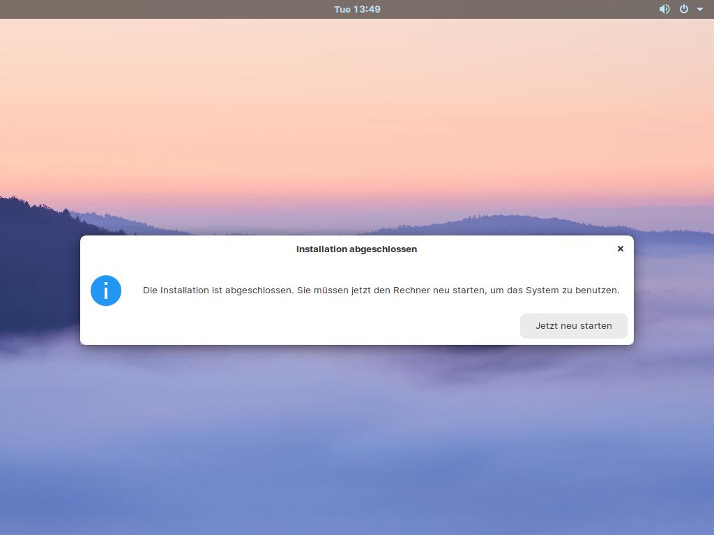 Zorin OS 15.3 installieren - reboot