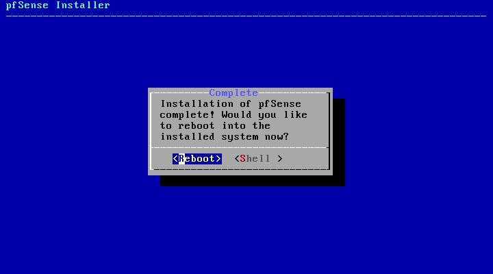 pfSense 2.5.0 installieren - reboot