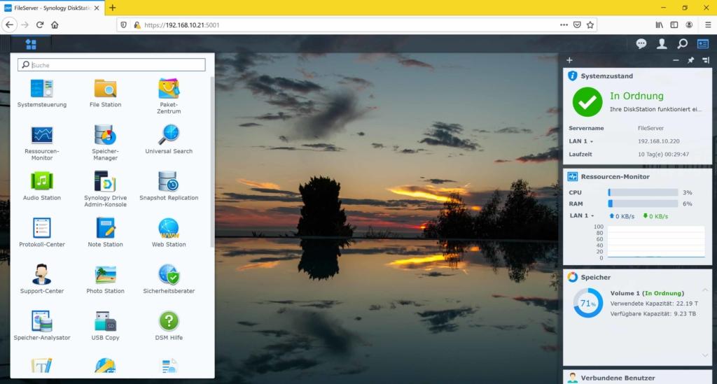 Synology NAS Festplatte Betriebsstunden auslesen - Hauptmenü