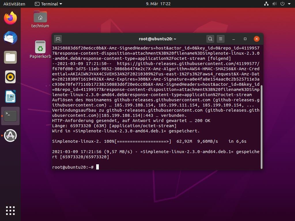Ubuntu Simplenote 2.3.0 installieren - wget