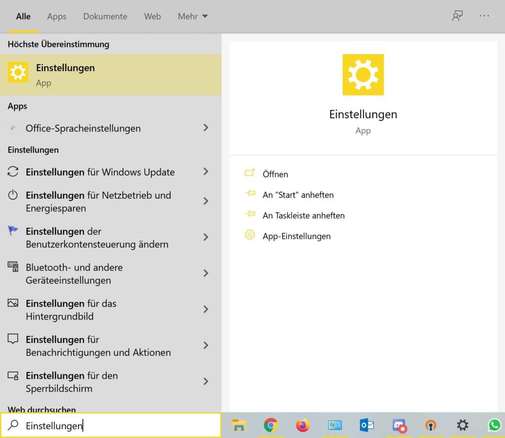 Windows 10 Dark Mode aktivieren Einstellungen öffnen