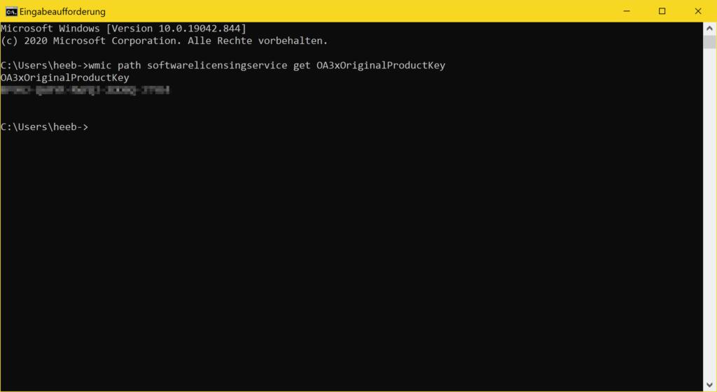 Windows 10 Key in CMD auslesen - cmd