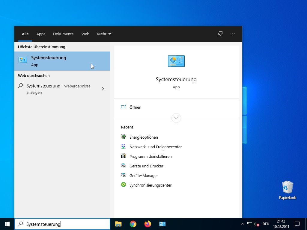 Windows 10 Schnellstart deaktivieren - Systemsteuerung öffnen