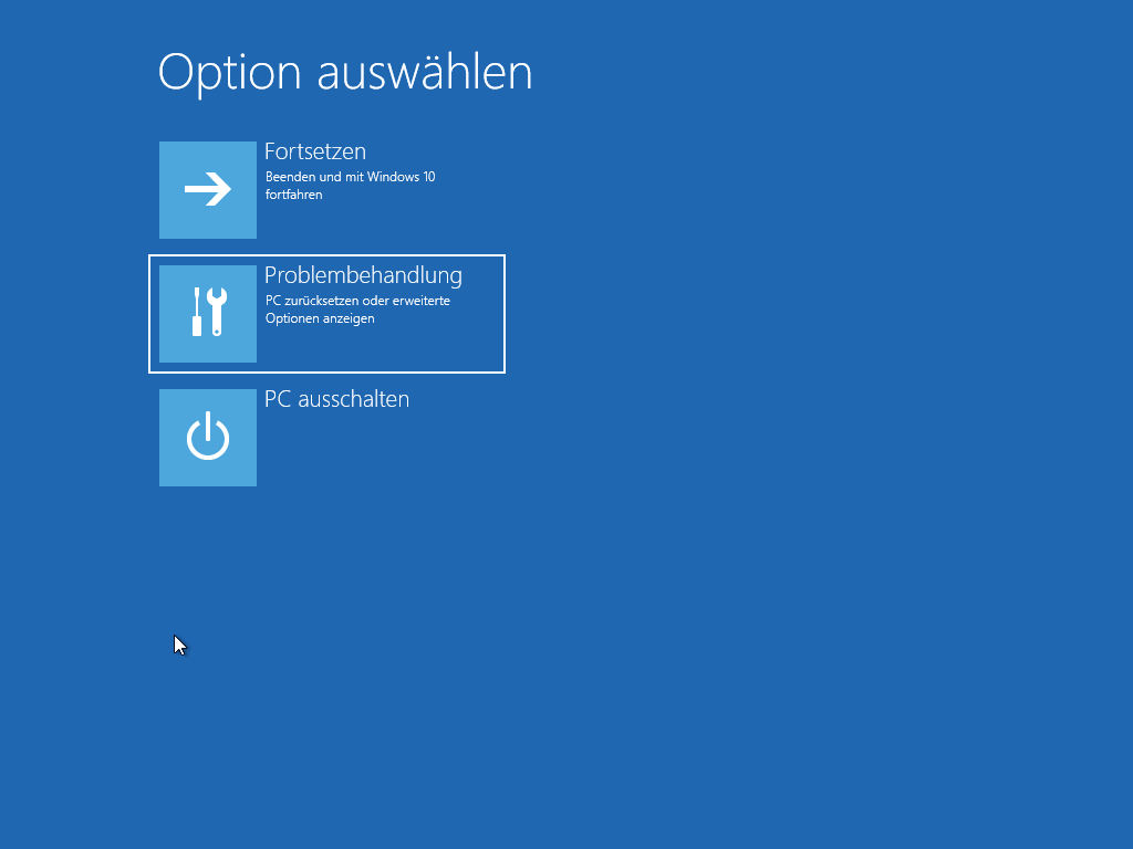 Windows 10 abgesicherter Modus starten - Option auswählen