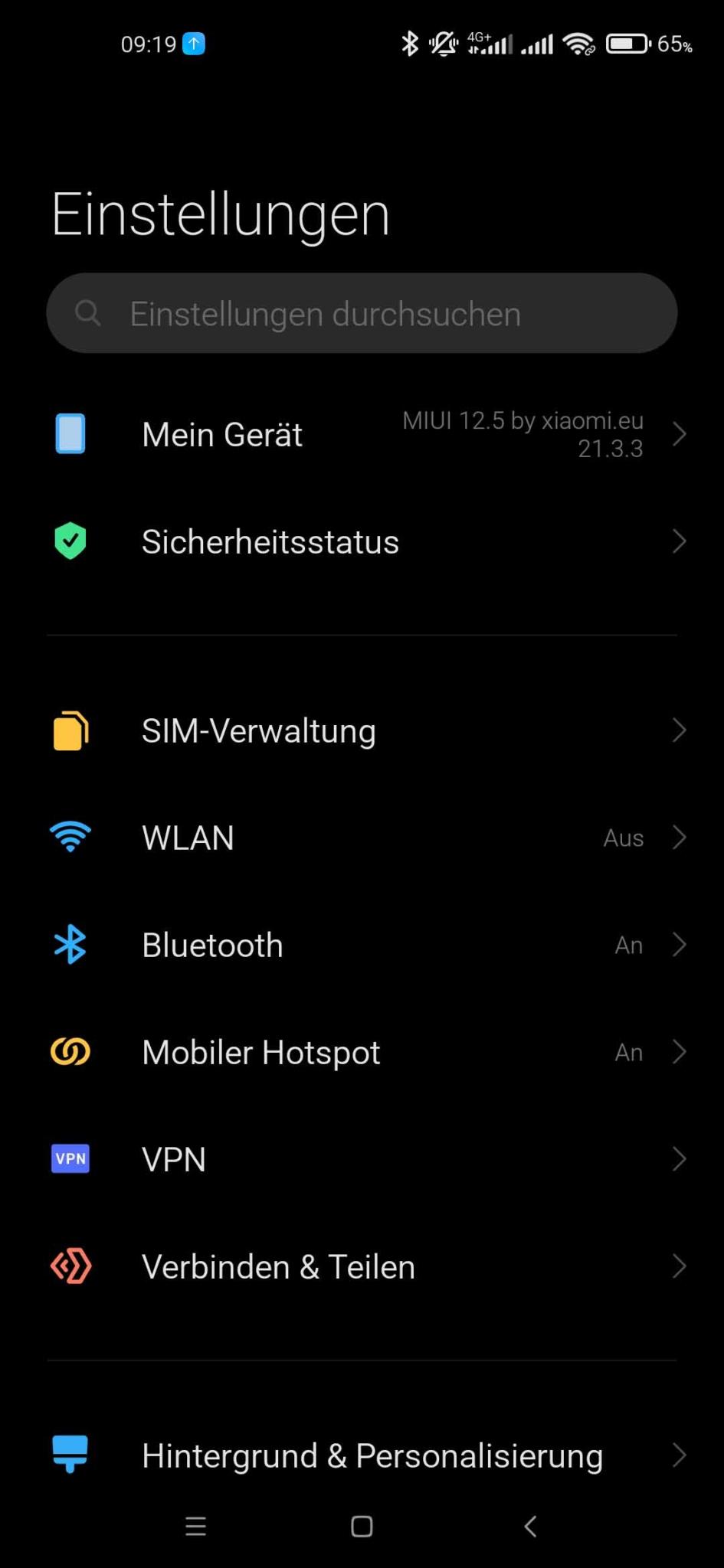 Xiaomi Mi 10 EU ROM Update - Einstellungen