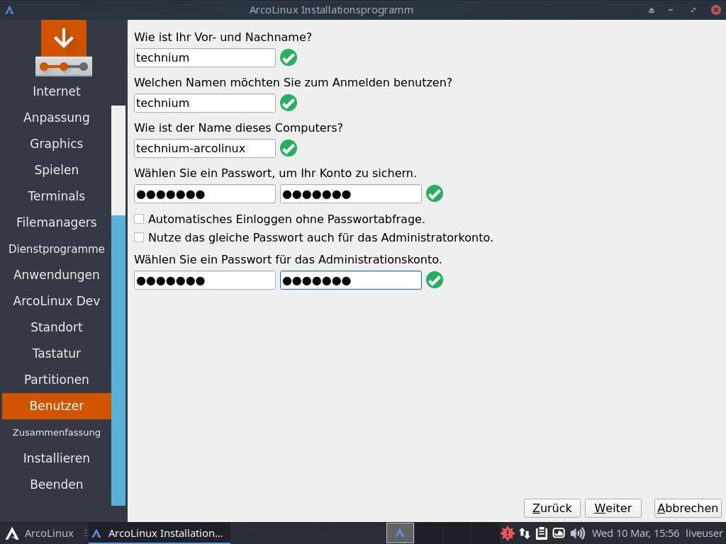ArcoLinux installieren - benutzer