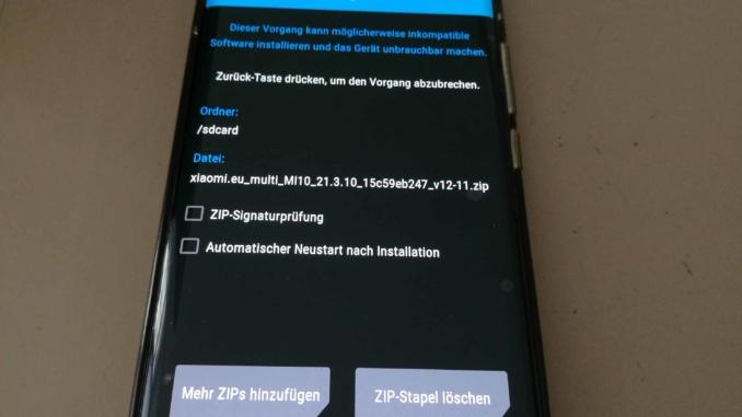 Xiaomi Mi 10 EU ROM Update - Installation bestätigen