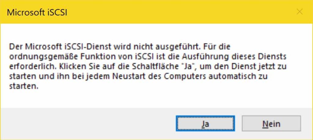 Windows 10 iSCSI Verbindung erstellen - iSCSI Dienst