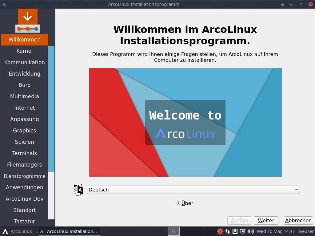 ArcoLinux installieren - wilkommen