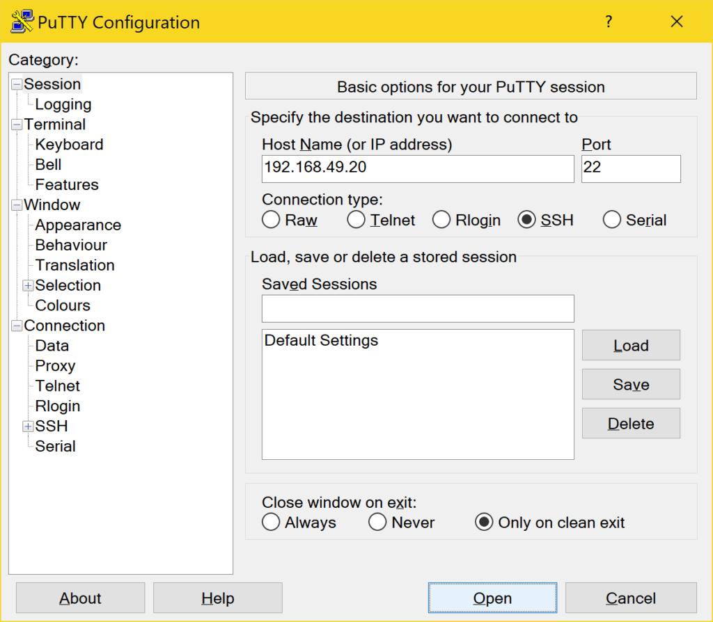 PuTTY richtig verwenden - Configuration IP